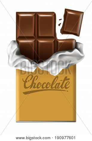 Dark chocolate bar vector with silver paper