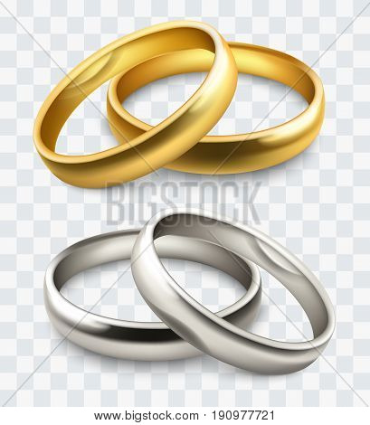 vector gold and silver wedding rings isolated on white
