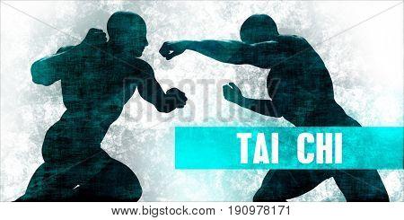 Tai chi Martial Arts Self Defence Training Concept 3D Illustration Render