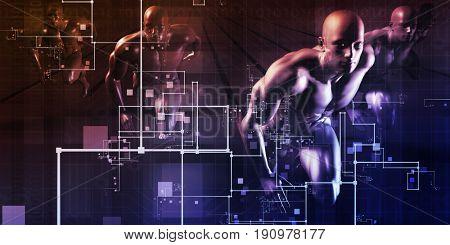 Telecommunications Network all over the World Art 3D Illustration Render