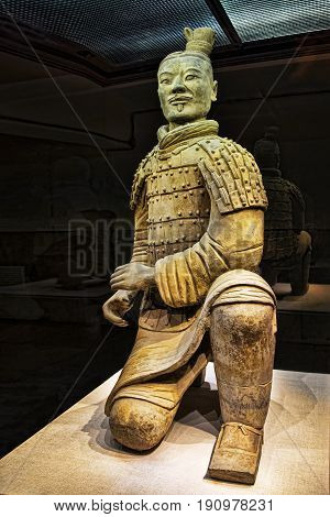 Xian China May 30 2017 The famous Kneeling Archer unearthed in Pit 2 of the Terracotta Army. Altogether 160 kneeling archers were found in pit 2. Xian Shaanxi province China