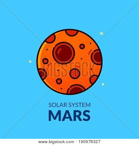 Terrestrial planet Mars, Solar System object, line art vector illustration