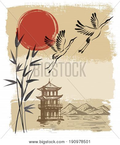Landscape with sun and storks on beige background