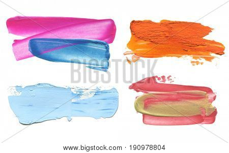 Abstract acrylic color brush stroke. Isolated on white. Collection.