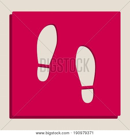 Imprint soles shoes sign. Vector. Grayscale version of Popart-style icon.