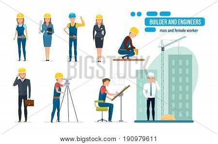 Engineers cartoon set with construction workers team, builder, architect, repairman and director, in different situations, circumstances and with different duties. Vector illustration isolated