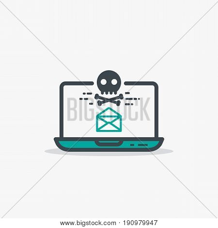 Email with malware and laptop concept. Opened mail envelope and malware or virus skull and bones sign. Modern line style vector illustration. Notebook with e-mail and harmful software.