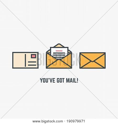 You've got mail concept. Line style flat modern vector illustration with retro colors. Closed envelop postcard with postage stamp and opened envelope with letter or document in it.
