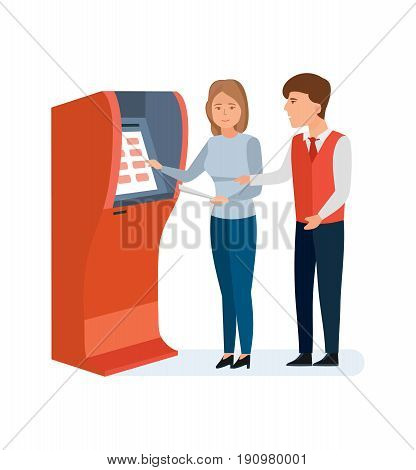 Bank service and staff. Employee bank consultant manager helps the client to girl to deal with terminal and financial operations. Vector illustration isolated on white background in cartoon style.