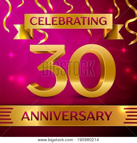 Thirty Years Anniversary Celebration Design. Confetti and golden ribbon on pink background. Colorful Vector template elements for your birthday party. Anniversary ribbon