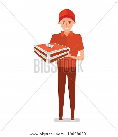 The pizza deliveryman in beautiful branded clothes, decorates, accepts and distributes orders in the form of pizza. Vector illustration isolated on white background in cartoon style.