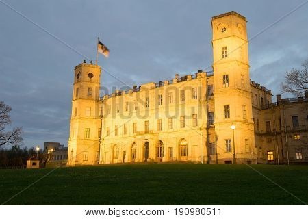 May cloudy evening at the Great Gatchina Palace. Gatchina, Leningrad region. Russia