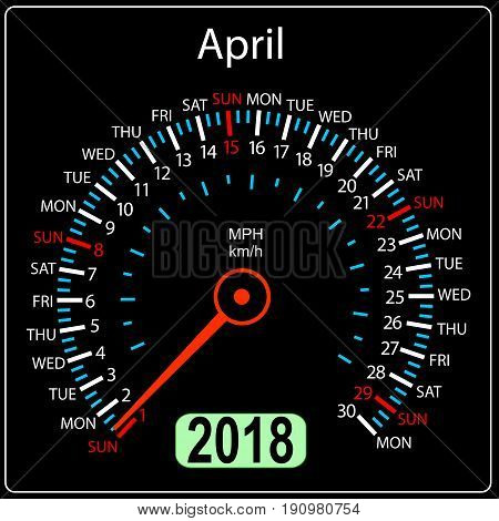 Year 2018 calendar speedometer car in concept. April.