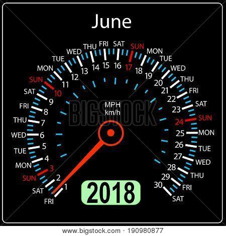 Year 2018 calendar speedometer car in concept. June.