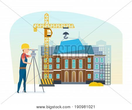 The cadastre engineer looks into the instrument's lens, standing on the background of the university building and construction equipment under construction. Vector illustration in cartoon style.
