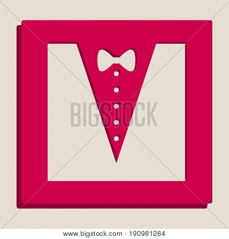 Tuxedo with bow silhouette. Vector. Grayscale version of Popart-style icon.