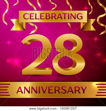 Twenty eight Years Anniversary Celebration Design. Confetti and golden ribbon on pink background. Colorful Vector template elements for your birthday party. Anniversary ribbon
