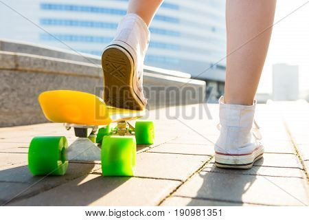 Girl With Penny Skateboard Shortboard.