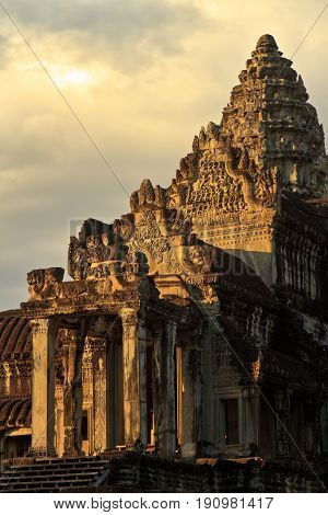 Early Morning at Angkor Wat, Cambodia.Angkor Wat is a temple complex in Cambodia and the largest religious monument in the world.It was built by the Khmer King Suryavarman II in the early 12th century
