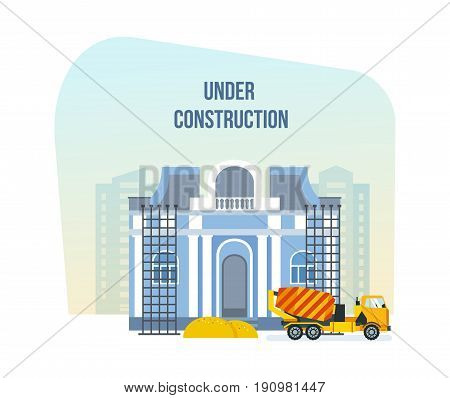 The modern building of the city art museum, which is under construction, next to construction materials and machinery. Vector illustration of website under construction, web page building process.