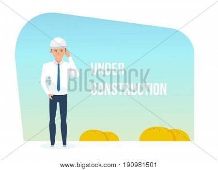 Engineer and building being under construction. Vector illustration of website under construction, templates, web page building process.