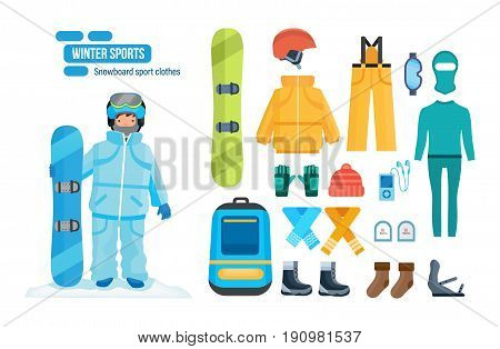 Set for creating a character, snowboard sport clothes and tools elements. A man with a snowboard on a snowy hillock. Winter sport. Modern vector illustration isolated on white background.