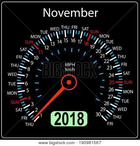 Year 2018 calendar speedometer car in concept. November.