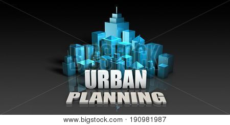 Urban Planning Concept in Blue on Black Background 3d Illustration Render