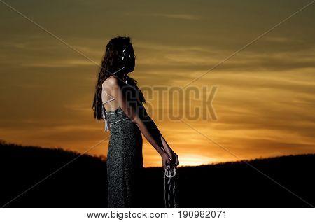 Girl Watching Idyllic Sundown