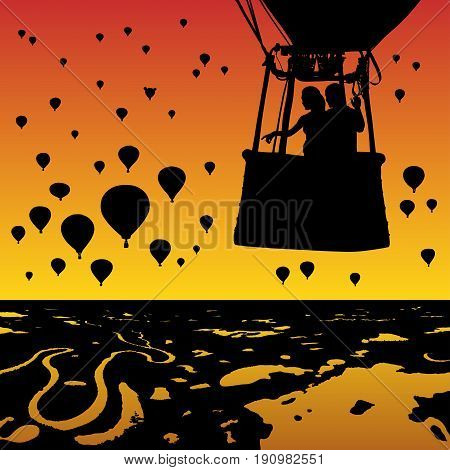 Lovers in balloon at sunset. Vector illustration with silhouette of loving couple under evening sky. Landscape with hot air balloons flying over rivers and lakes. Bright gradient background