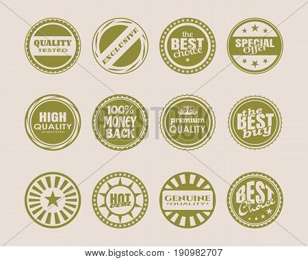 Stamps and stickers icons set. Kit collection of graphic design elements. Vector illustration.