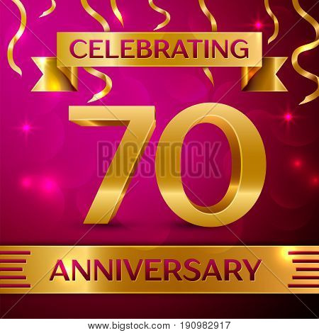 Seventy Years Anniversary Celebration Design. Confetti and golden ribbon on pink background. Colorful Vector template elements for your birthday party. Anniversary ribbon