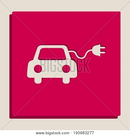 Eco electric car sign. Vector. Grayscale version of Popart-style icon.