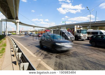 Moscow Russia May 24 2017: The car quickly rides the Moscow Ring Road (MKAD).