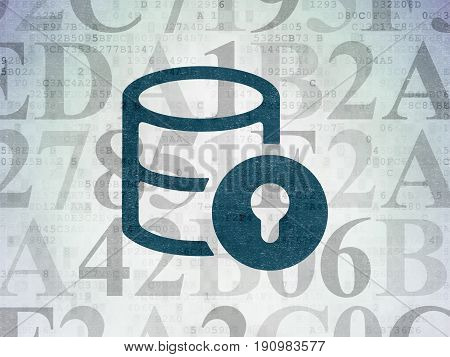 Programming concept: Painted blue Database With Lock icon on Digital Data Paper background with  Hexadecimal Code