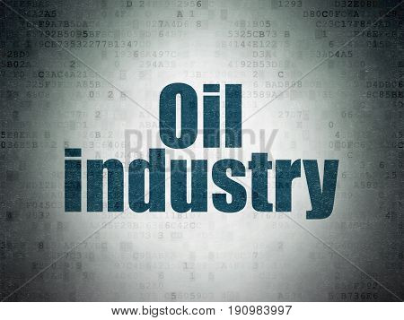 Manufacuring concept: Painted blue word Oil Industry on Digital Data Paper background