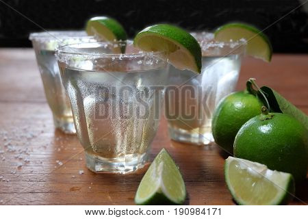 Mexican tequila with lime and salt close up.Tequila shot