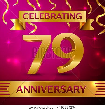 Seventy nine Years Anniversary Celebration Design. Confetti and golden ribbon on pink background. Colorful Vector template elements for your birthday party. Anniversary ribbon