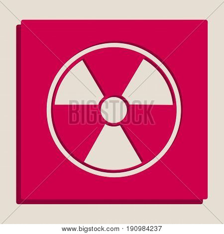 Radiation Round sign. Vector. Grayscale version of Popart-style icon.