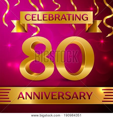 Eighty Years Anniversary Celebration Design. Confetti and golden ribbon on pink background. Colorful Vector template elements for your birthday party. Anniversary ribbon
