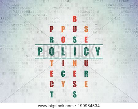 Insurance concept: Painted green word Policy in solving Crossword Puzzle on Digital Data Paper background