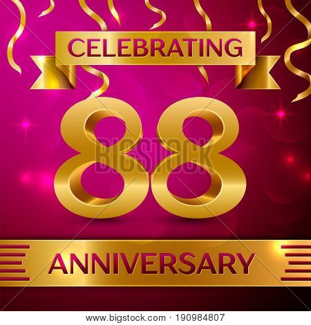 Eighty eight Years Anniversary Celebration Design. Confetti and golden ribbon on pink background. Colorful Vector template elements for your birthday party. Anniversary ribbon