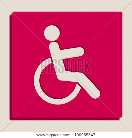Disabled sign illustration. Vector. Grayscale version of Popart-style icon.