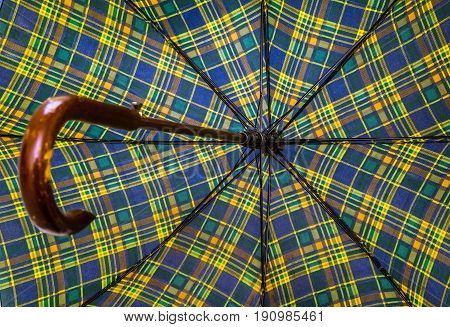 Creative image umbrella view from below mechanism close-up
