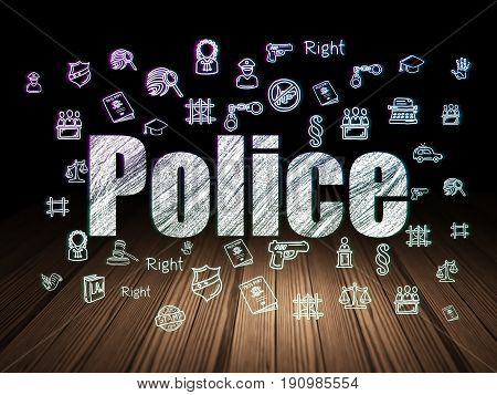 Law concept: Glowing text Police,  Hand Drawn Law Icons in grunge dark room with Wooden Floor, black background