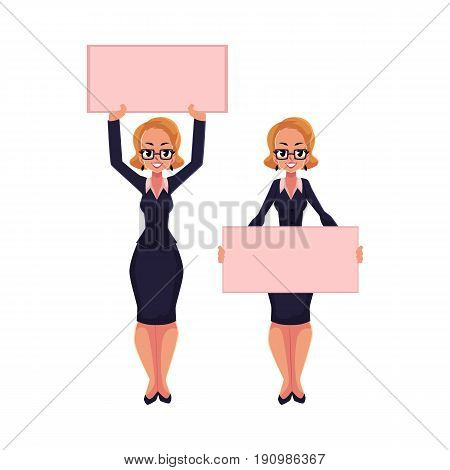 Woman, businesswoman on strike holding empty board over head and in front of herself, cartoon vector illustration isolated on white background. Smiling businesswoman, woman with empty board on strike