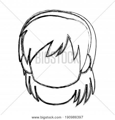 chibi anime girl avatar contour default vector illustration