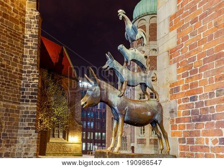 Bremen, Germany - March 31, 2017: Statue of the Bremen musicians, donkey, dog, cat and rooster in the historic center of the Old Town.