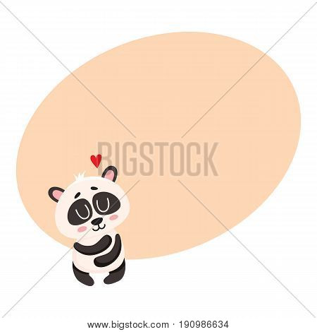 Cute and funny smiling baby panda character hugging itself, showing love, cartoon vector illustration with space for text. Cute little panda bear character, mascot, symbol of love