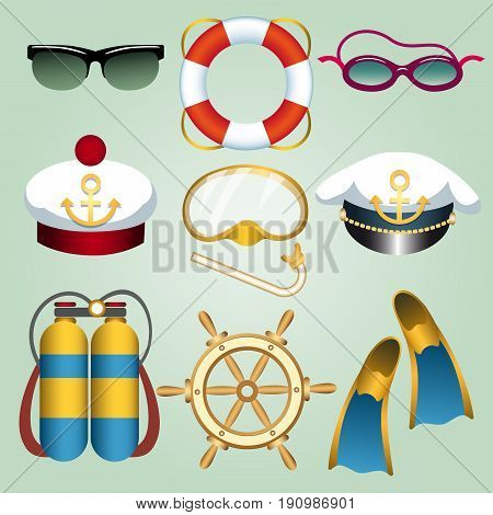 Set of summer beach vacation emblems drawn in cartoon style. Sun and swim glasses seamans cap flippers life buoy steering wheel diving mask etc. Vector illustration.